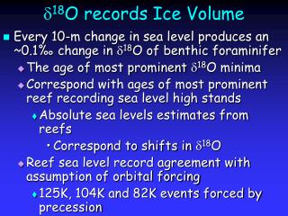 d 18 O records Ice Volume