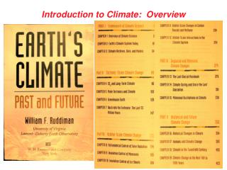 Introduction to Climate:  Overview