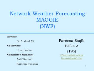 Network Weather Forecasting MAGGIE (NWF)