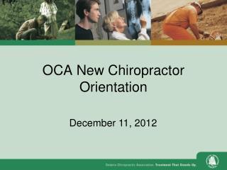 OCA New Chiropractor Orientation