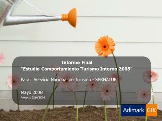 Informe Final  Estudio Comportamiento Turismo Interno 2008   Para:  Servicio Nacional de Turismo - SERNATUR   Mayo 2008