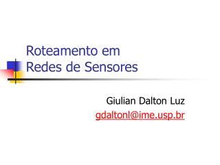 Roteamento em Redes de Sensores
