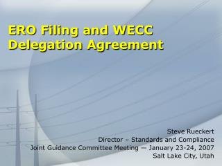 ERO Filing and WECC Delegation Agreement