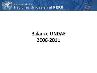 Balance UNDAF 2006-2011