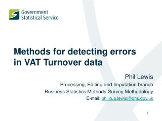 Methods for detecting errors  in VAT Turnover data