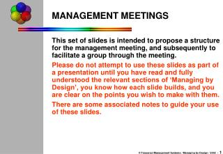 MANAGEMENT MEETINGS