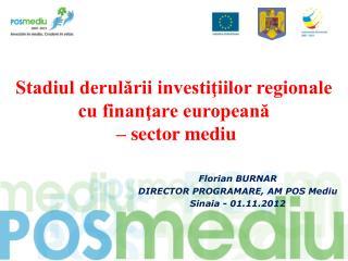 Stadiul derulării investiţiilor regionale cu finanţare europeană  – sector mediu