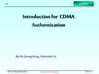 Introduction for  CDMA Authentication