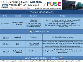 PCT  Learning Event   AGENDA