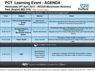 PCT  Learning Event - AGENDA