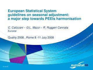C. Calizzani – G.L. Mazzi – R. Ruggeri Cannata Eurostat Quality 2008 , Rome 8 -11 July 2008