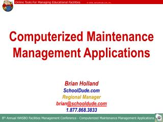 Computerized Maintenance Management Applications