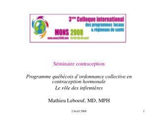 Séminaire contraception Programme québécois d'ordonnance collective en contraception hormonale