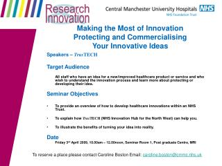Making the Most of Innovation  Protecting and Commercialising  Your Innovative Ideas