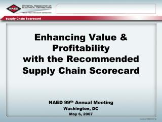 Enhancing Value  Profitability  with the Recommended Supply Chain Scorecard
