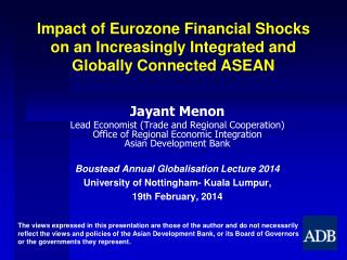 Impact of Eurozone Financial Shocks on an Increasingly Integrated and Globally Connected ASEAN