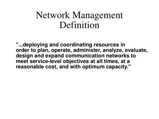Network Management Definition
