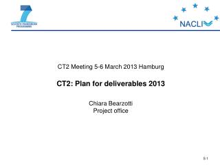 CT2 Meeting 5-6 March 2013 Hamburg CT2: Plan for deliverables 2013  Chiara Bearzotti