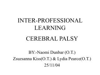 INTER-PROFESSIONAL LEARNING