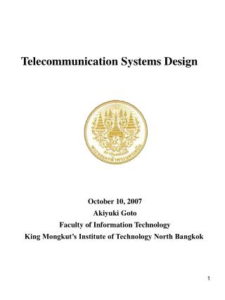 Telecommunication Systems Design