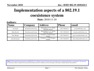 Implementation aspects of a 802.19.1 coexistence system