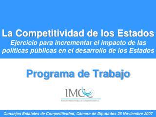 La Competitividad de los Estados Ejercicio para incrementar el impacto de las pol ticas p blicas en el desarrollo de los