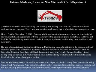 Extreme Machinery Launches New Aftermarket Parts Department