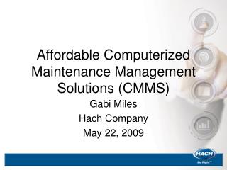 Affordable Computerized Maintenance Management Solutions (CMMS)