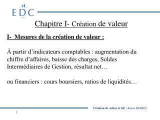 Chapitre I-  Création  de valeur