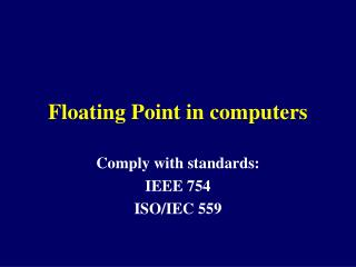 Floating Point in computers