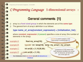 C Programming Language    1-dimensional arrays 1
