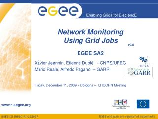 Network Monitoring  Using Grid Jobs EGEE SA2