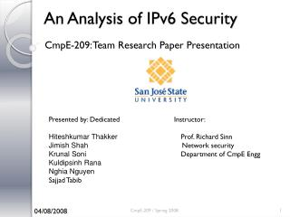 An Analysis of IPv6 Security