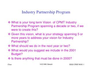 Industry Partnership Program