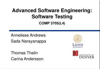 Advanced Software Engineering:  Software Testing COMP 3705(L4)