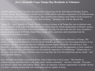 Jerry Jaramillo Urges Tampa Bay Residents to Volunteer