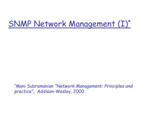 SNMP Network Management (I) *