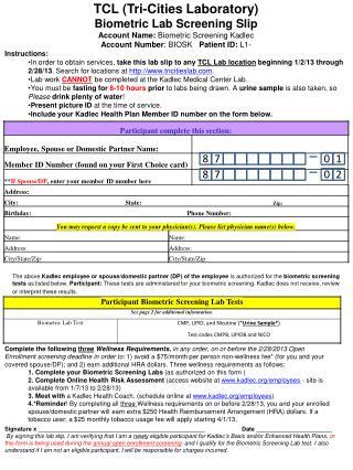 TCL (Tri-Cities Laboratory) Biometric Lab Screening Slip Account Name:  Biometric Screening Kadlec