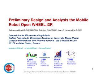 3ème Congrès International Modélisation et Conception des Systèmes Mécaniques CMSM'09