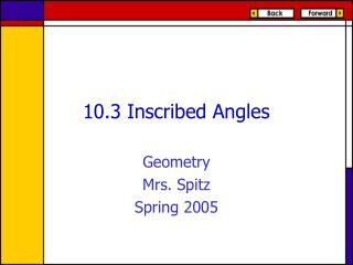 10.3 Inscribed Angles