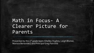 Math in Focus- A Clearer Picture for Parents