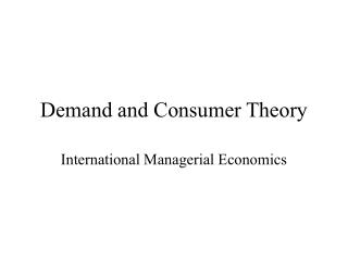 Demand and Consumer Theory
