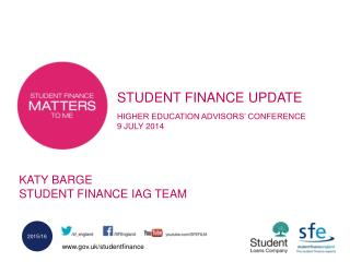 STUDENT FINANCE UPDATE HIGHER EDUCATION ADVISORS' CONFERENCE  9 JULY 2014