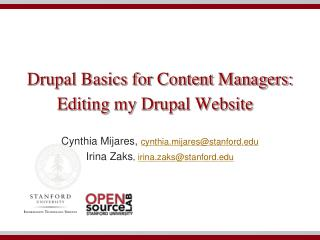 Drupal Basics for Content Managers: Editing my Drupal Website