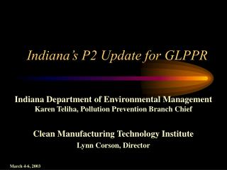 Indiana's P2 Update for GLPPR