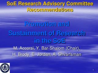 SoE Research Advisory Committee Recommendations