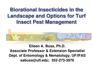Biorational Insecticides in the Landscape and Options for Turf Insect Pest Management