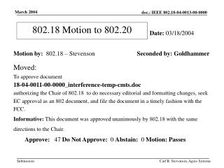 802.18 Motion to 802.20