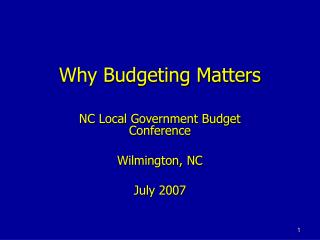 Why Budgeting Matters