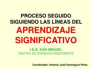 PROCESO SEGUIDO SIGUIENDO LAS LÍNEAS DEL  APRENDIZAJE SIGNIFICATIVO